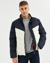 Native Youth Colour Blocking Puffer Jacket Navy