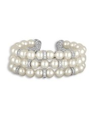 Majorica Social Faux Pearl And Crystal Three Row Bracelet White