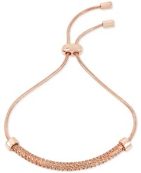 Kenneth Cole New York Rose Gold Tone Textured Chain And Cubic Zirconia Slider Bracelet