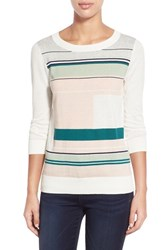 Women's Halogen Three Quarter Sleeve Sweater Ivory Grey Space Stripe