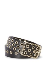 Karen Millen Leather Eyelet Belt Black