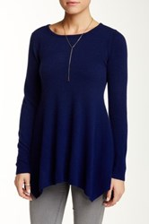 Sofia Cashmere Jewel Neck Ombre Cashmere Sweater Blue