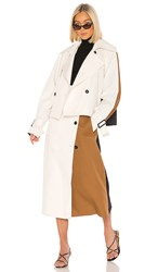Tibi Techy Twill Color Block Detachable Trench In White. Ivory Multi