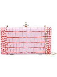 Vivienne Westwood Crocodile Effect Structured Clutch Women Calf Leather One Size Pink Purple