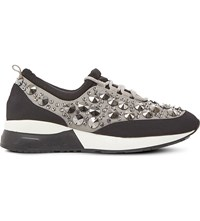 Dune Enigma Jewel Embellished Trainers Black Metallic