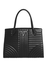 Prada Quilted Soft Leather Top Handle Bag Black