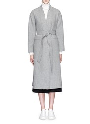 Mo And Co. Edition 10 Longline Robe Wool Overcoat Grey