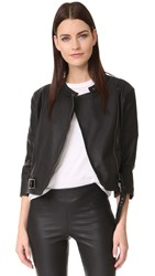 David Lerner Griffin Faux Leather Jacket Classic Black
