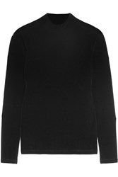 Topshop Unique Evesman Velvet Turtleneck Top Black