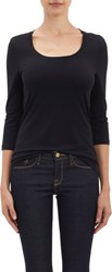 Barneys New York Micro Knit Three Quarter Length Sleeve T Shirt Black