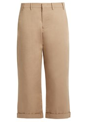 N 21 Wide Leg Cotton Blend Trousers Beige