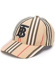 Burberry Tb Logo Embroidered Cap Brown