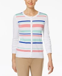 Charter Club Striped Front Cardigan Only At Macy's Bright White Combo