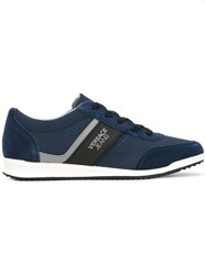 Versace Jeans Lateral Logo Sneakers Men Suede Polyester Synthetic Resin Rubber 41 Blue