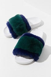 Urban Outfitters Uo Colorblocked Faur Fur Slide Navy