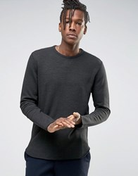 Selected Homme Crew Neck Sweat With Curved Hem Black
