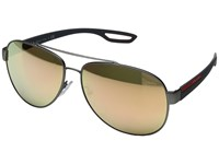 Prada Linea Rossa 0Ps 55Qs Gunmetal Rubber Light Brown Mirror Pink Fashion Sunglasses