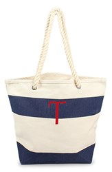 Cathy's Concepts Personalized Stripe Canvas Tote Blue Navy T