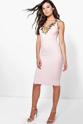 Boohoo Flower Applique Bodycon Dress Blush
