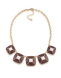 1St And Gorgeous Enamel Pyramid Pendant Statement Necklace In Maroon White Gold