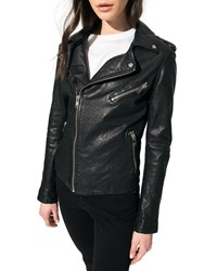 Lamarque Kiyoshi Leather Zip Front Moto Jacket Black