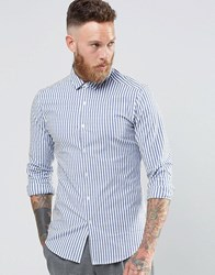 Asos Skinny Shirt In Bold Blue Stripe With Long Sleeves Blue