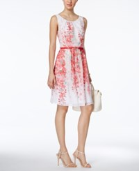 Connected Belted Floral Print A Line Dress White Coral
