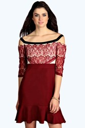 Boohoo Eyelash Lace Off The Shoulder Dress Wine