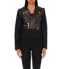 Claudie Pierlot Carry Leather And Wool Blend Jacket Dark Blue
