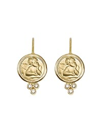 Temple St. Clair 18K Yellow Gold Angel Earrings With Diamonds Gold White