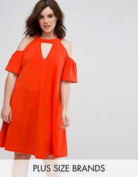 Pink Clove Cold Shoulder Swing Dress With Key Hole Orange