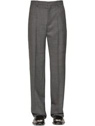 Balenciaga Prince Of Wales Wool Trousers Grey