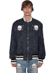 Lost Daze Ca Embroidered Wool Blend Bomber Jacket Blue