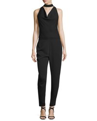Halston Cowl Neck Slim Leg Jumpsuit Black