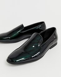 New Look Patent Loafers In Green Marble