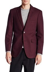 U.S. Polo Assn. Burgundy Houndstooth Two Button Notch Lapel Modern Fit Suit Separates Sports Coat Red