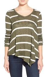 Women's Splendid V Neck Stripe Sweater Olivine