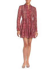 Bcbgmaxazria Printed Long Sleeve Dress Wine Red