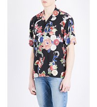 Saint Laurent Floral And Snake Print Woven Shirt Multico