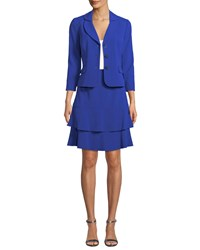 Albert Nipon Two Piece Suit Set W Tiered Skirt Royal