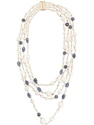 Rosantica Floral Layered Necklace White