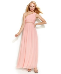Hailey Logan By Adrianna Papell Juniors' One Shoulder Mesh Panel Gown Petal Pink