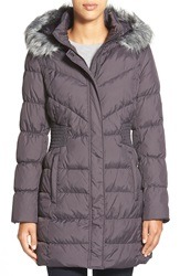 Via Spiga Waist Detail Down And Feather Fill Coat With Faux Fur Trim Hood Steel