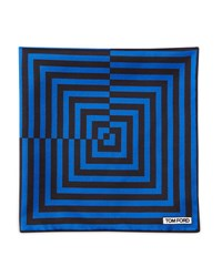 Tom Ford Linear Pattern Pocket Square Brown Blue