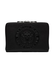 Balmain Black Logo Embossed Leather Pouch