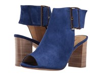 Vaneli Bisa French Blue Suede Gold Buckle High Heels