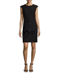 Natori Cap Sleeve Embellished Cloque Dress Black