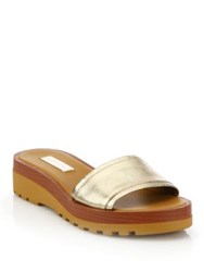 See By Chlo Robin Metallic Leather Demi Wedge Slide Sandals Gold