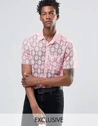 Reclaimed Vintage Lace Shirt In Reg Fit Pink