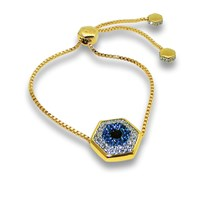 Liza Schwartz Jewelry Evil Eye Nut Drawstring Bracelet 18K Gold Plated